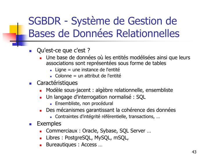 SGBDR - Système de Gestion de Bases de Données Relationnelles