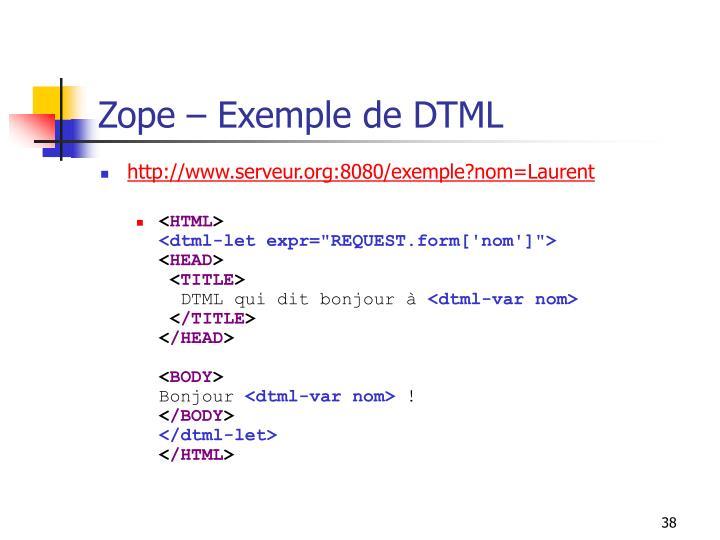Zope – Exemple de DTML