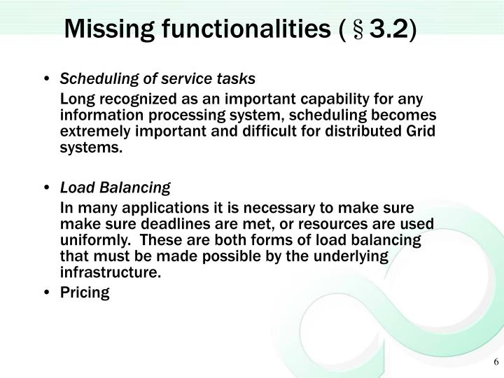 Missing functionalities (