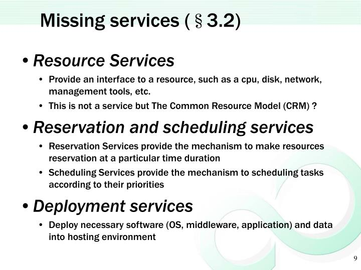Missing services (