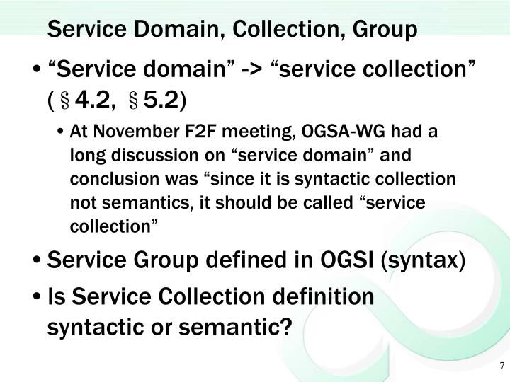 Service Domain, Collection, Group