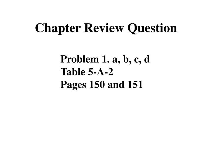 Chapter Review Question