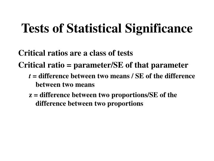 Tests of Statistical Significance