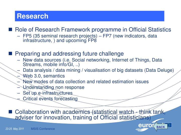 Role of Research Framework programme in Official Statistics