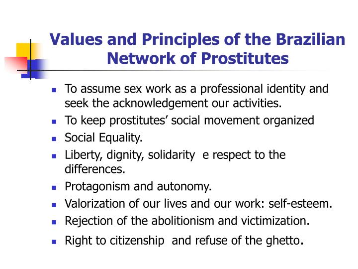 Values and Principles of the Brazilian Network of Prostitutes