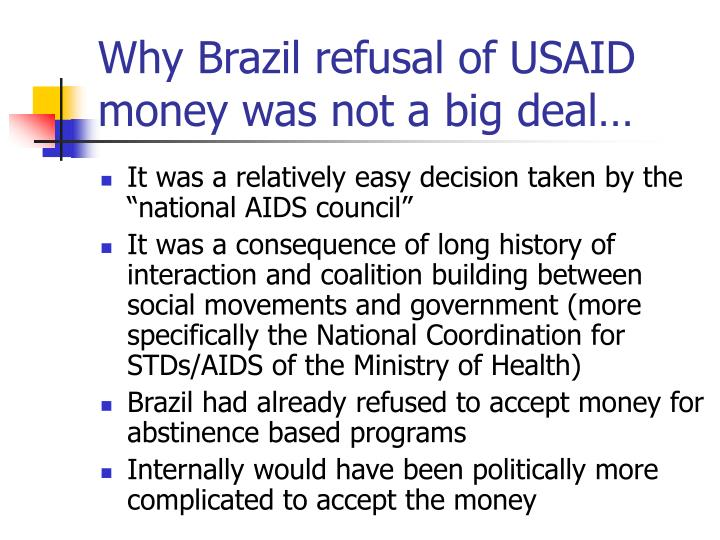 Why Brazil refusal of USAID money was not a big deal…