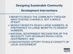 designing sustainable community development interventions