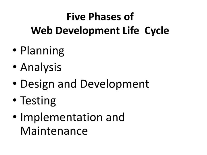 Five phases of web development life cycle