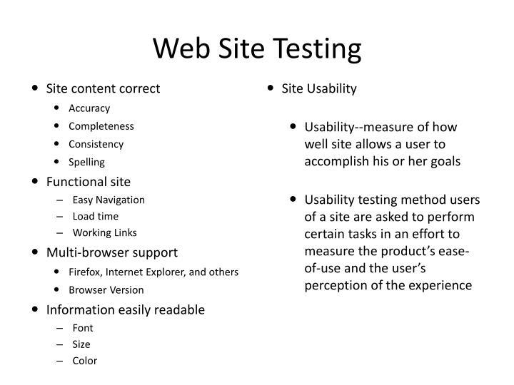 Web Site Testing