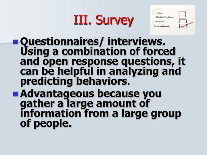 III. Survey