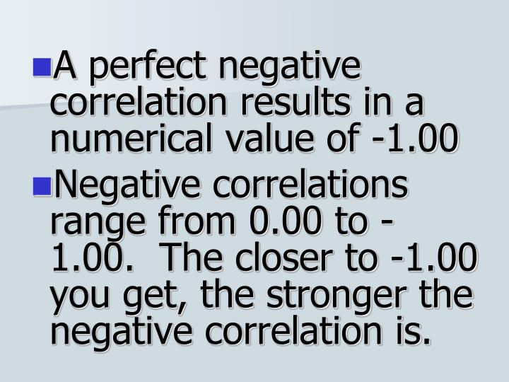A perfect negative correlation results in a numerical value of -1.00