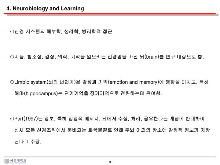 4. Neurobiology and Learning
