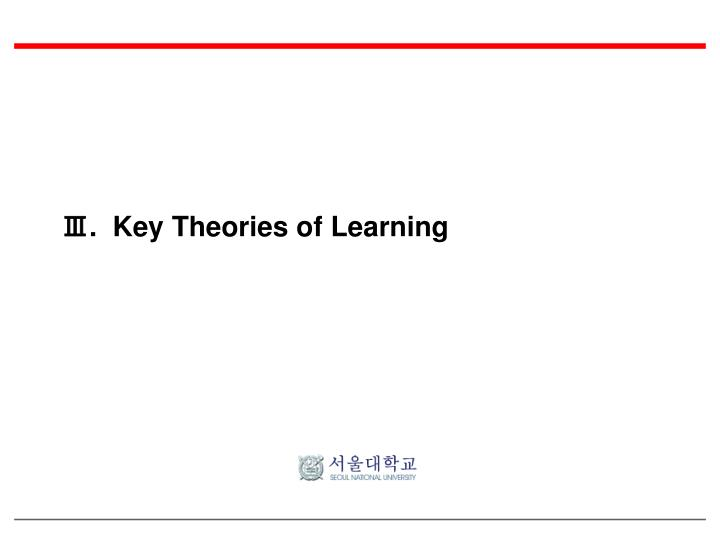 Ⅲ.  Key Theories of Learning