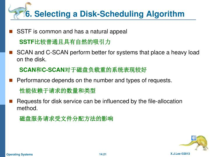 6. Selecting a Disk-Scheduling Algorithm