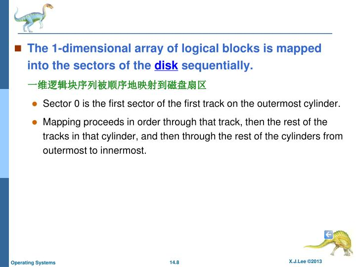 The 1-dimensional array of logical blocks is mapped into the sectors of the
