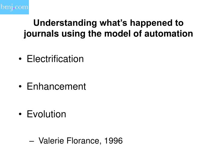 Understanding what's happened to journals using the model of automation