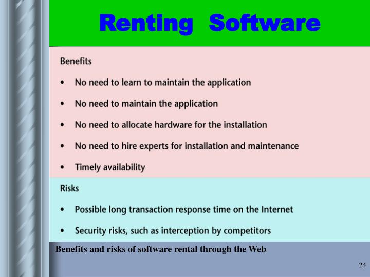 Benefits and risks of software rental through the Web