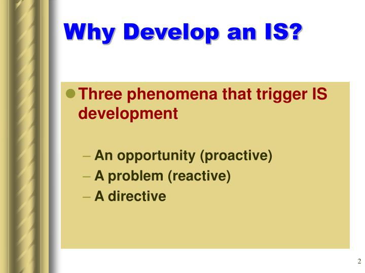 Why Develop an IS?