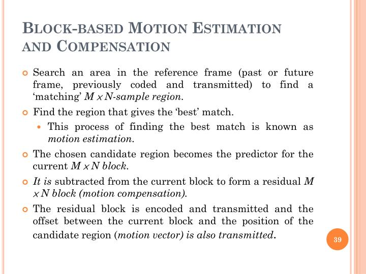 Block-based Motion Estimation and Compensation