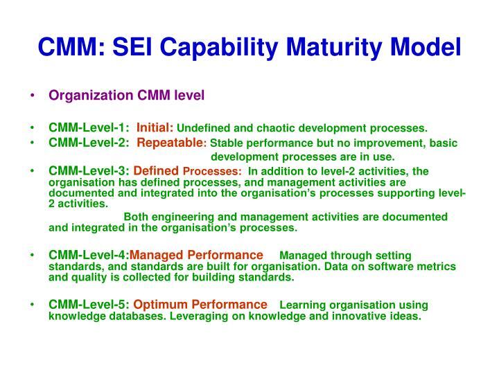 CMM: SEI Capability Maturity Model