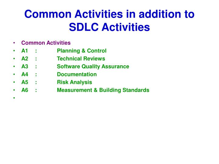 Common Activities in addition to SDLC Activities