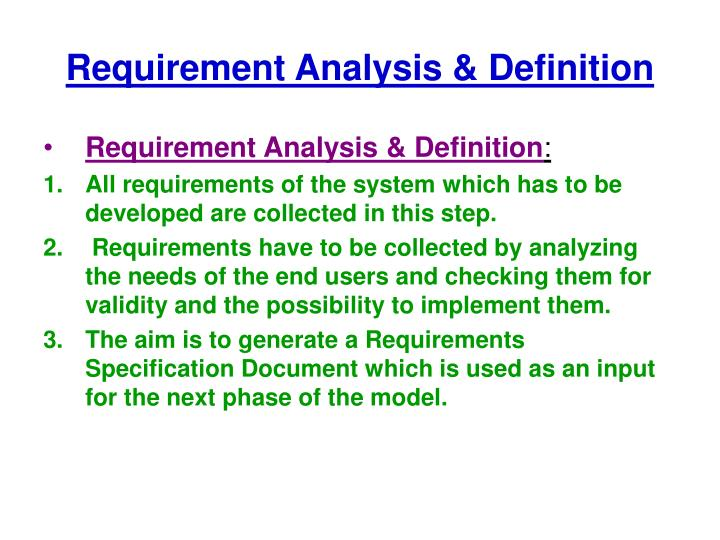 Requirement Analysis & Definition
