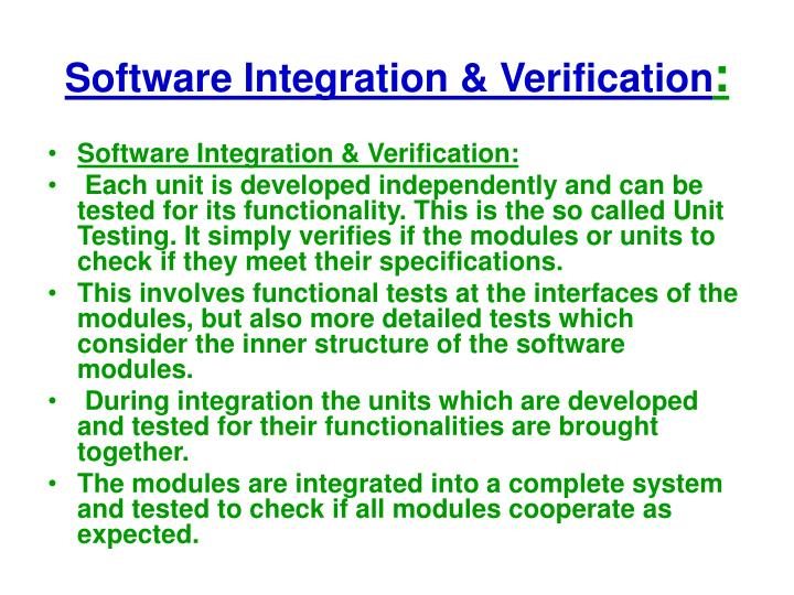 Software Integration & Verification