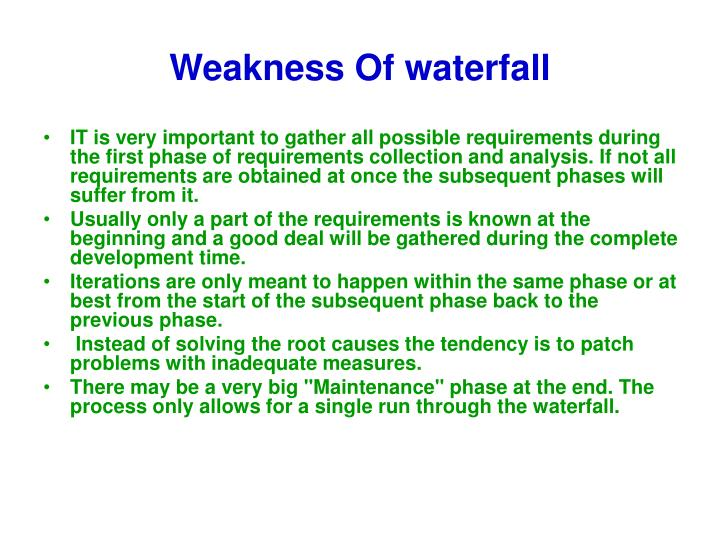 Weakness Of waterfall