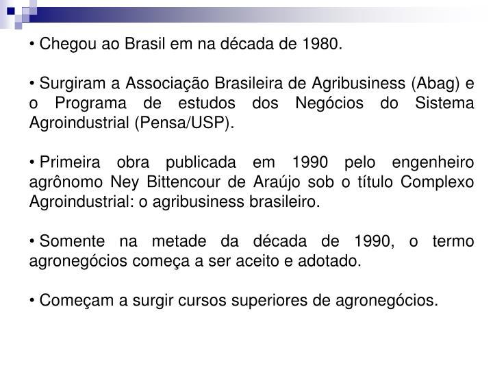 Chegou ao Brasil em na década de 1980.
