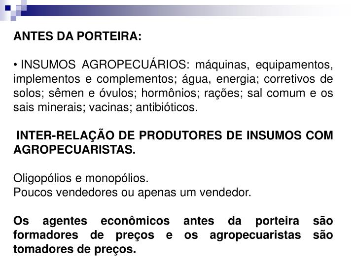 ANTES DA PORTEIRA: