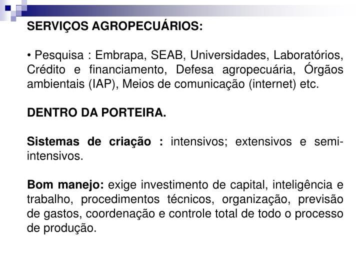 SERVIÇOS AGROPECUÁRIOS: