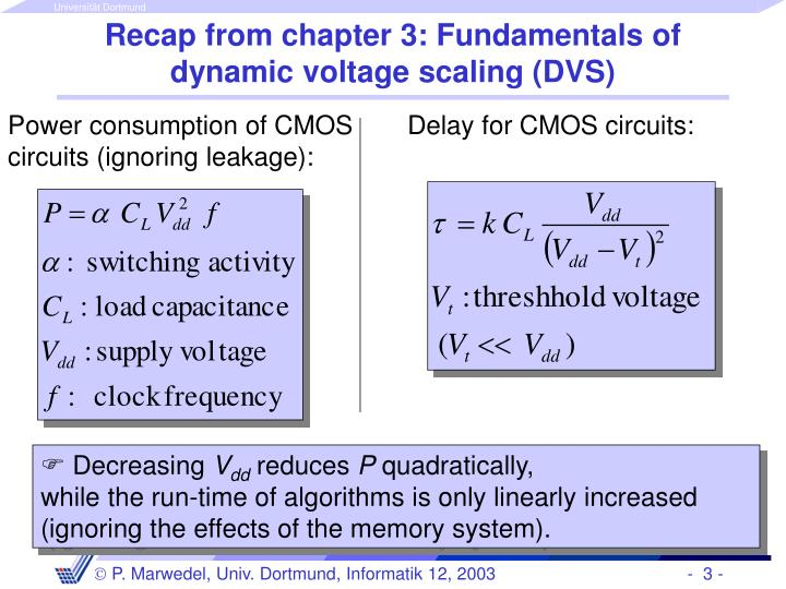 Recap from chapter 3 fundamentals of dynamic voltage scaling dvs