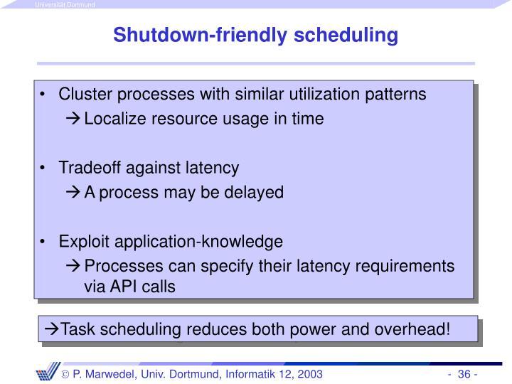 Shutdown-friendly scheduling