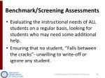 benchmark screening assessments