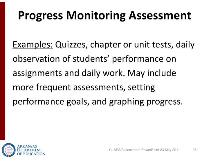Progress Monitoring Assessment
