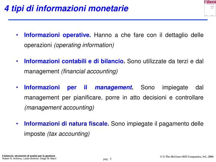 4 tipi di informazioni monetarie