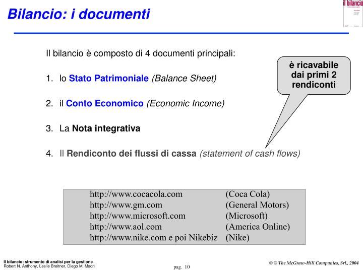 Bilancio: i documenti