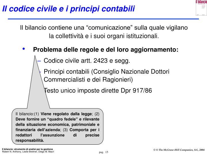 Il codice civile e i principi contabili