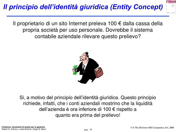 Il proprietario di un sito Internet preleva 100 € dalla cassa della propria società per uso personale. Dovrebbe il sistema contabile aziendale rilevare questo prelievo