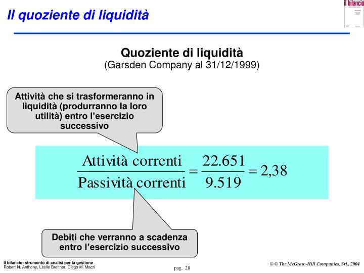Il quoziente di liquidità