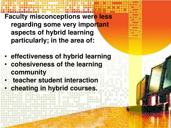 Faculty misconceptions were less regarding some very important aspects of hybrid learning particularly; in the area of: