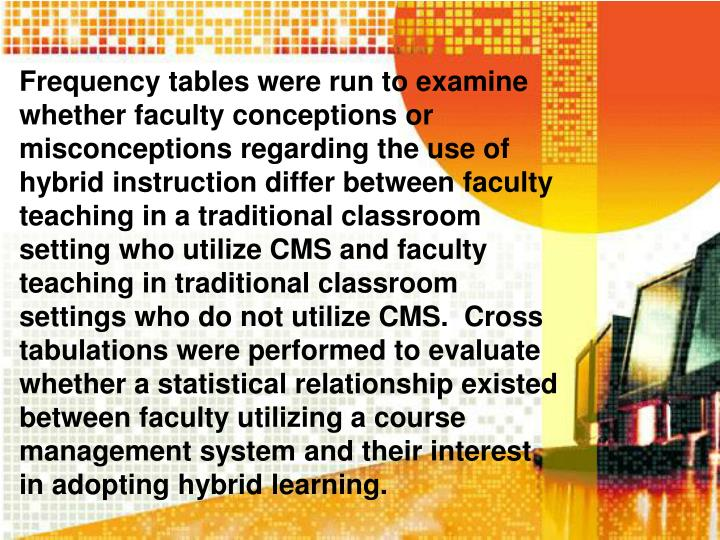 Frequency tables were run to examine whether faculty conceptions or misconceptions regarding the use of hybrid instruction differ between faculty teaching in a traditional classroom setting who utilize CMS and faculty teaching in traditional classroom settings who do not utilize CMS.  Cross tabulations were performed to evaluate whether a statistical relationship existed between faculty utilizing a course management system and their interest in adopting hybrid learning.
