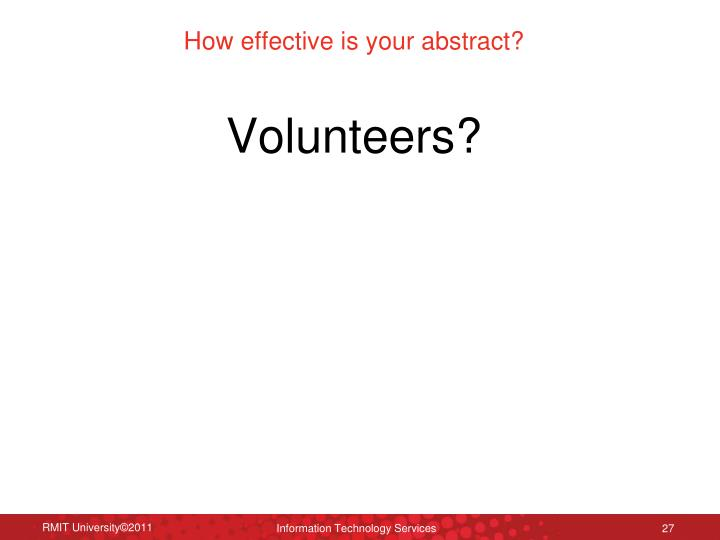 How effective is your abstract?