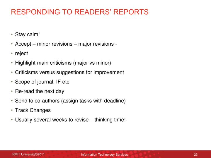 RESPONDING TO READERS' REPORTS