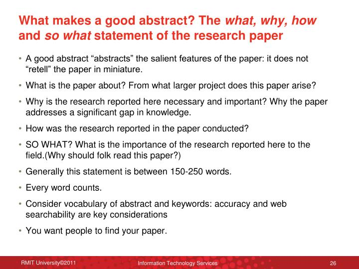 What makes a good abstract? The