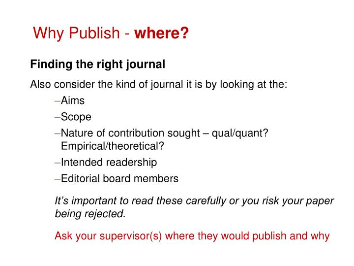 Why Publish -
