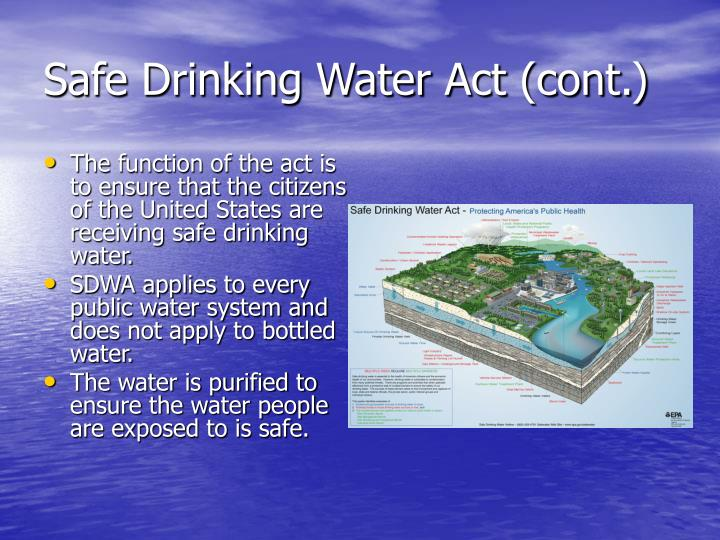 Safe drinking water act cont
