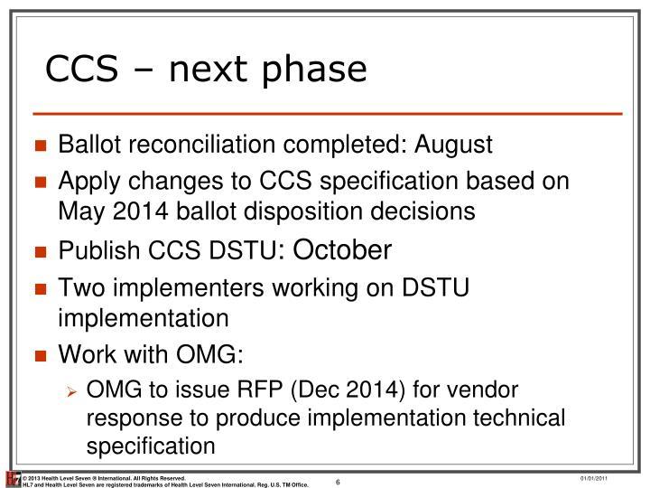 CCS – next phase