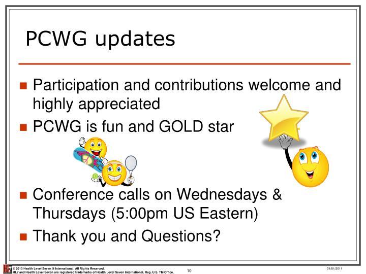 PCWG updates