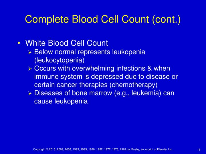 Complete Blood Cell Count (cont.)